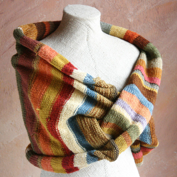 Striped Shawl Wrap mushroom dyed wool yarn mixed with kid mohair, silk and cotton threads. Blue stripes are Indigo dyed wool. Wrapture by Inese