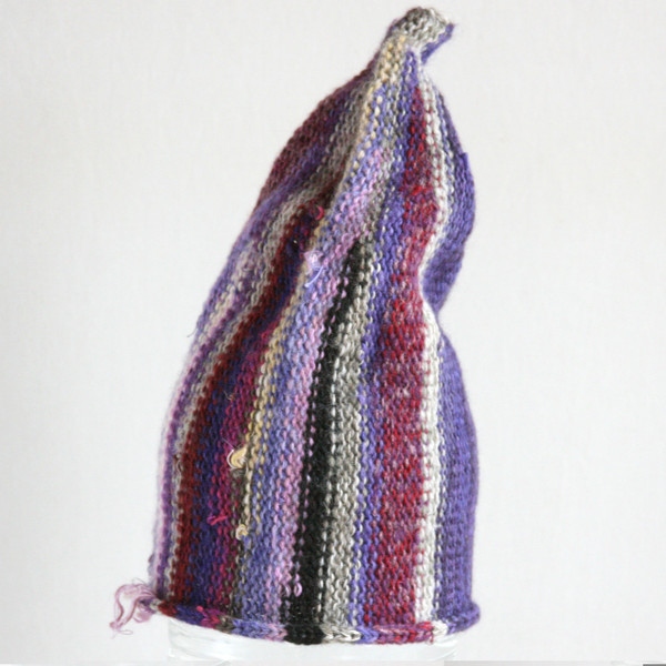 Lilac Trees purple grey striped pixie gnome hat knit with wool, kid mohair, silk, cotton, prewashed, Wrapture by Inese