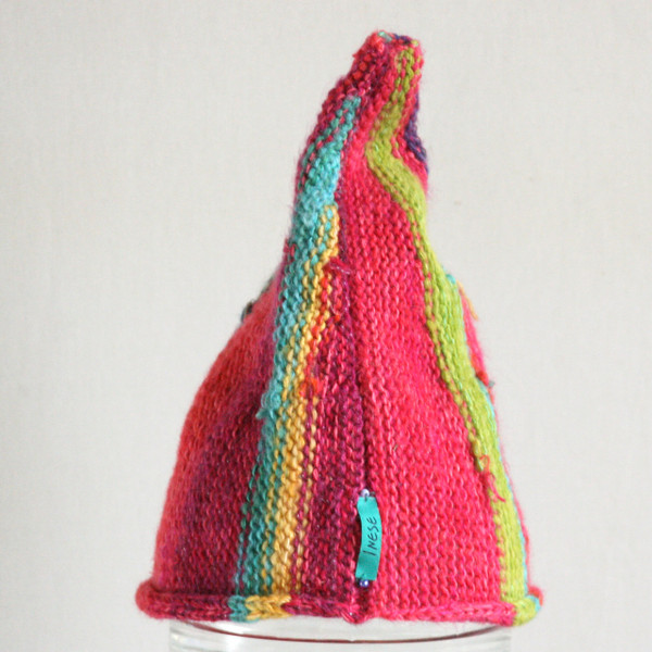 Hot Pink kids 4-10 years striped pixie gnome hat knit with wool, kid mohair, silk, cotton, prewashed, Wrapture by Inese