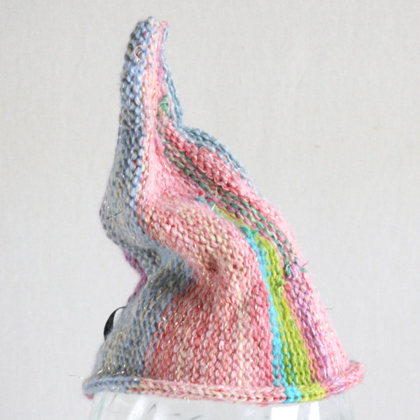 Glitter Pastel baby 1-3 years striped pixie gnome hat knit with wool, kid mohair, silk, cotton, prewashed, Wrapture by Inese