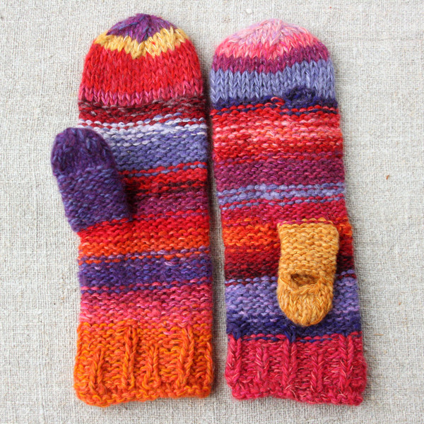 Flower Garden hand knit Smart Phone Mittens red purple stripes thumbhole finger hole left handed or right handed hand knit Wrapture by Inese