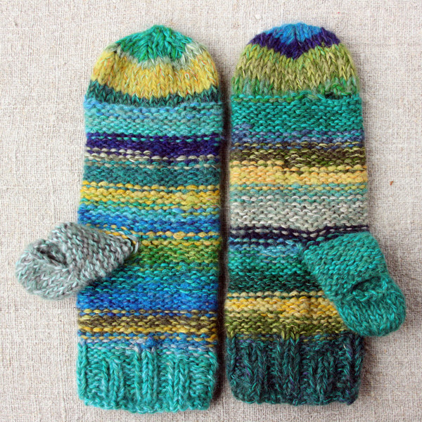 New Zealand Bay hand knit Smart Phone Mens Mittens blue teal green stripes thumbhole finger hole left handed or right handed hand knit Wrapture by Inese
