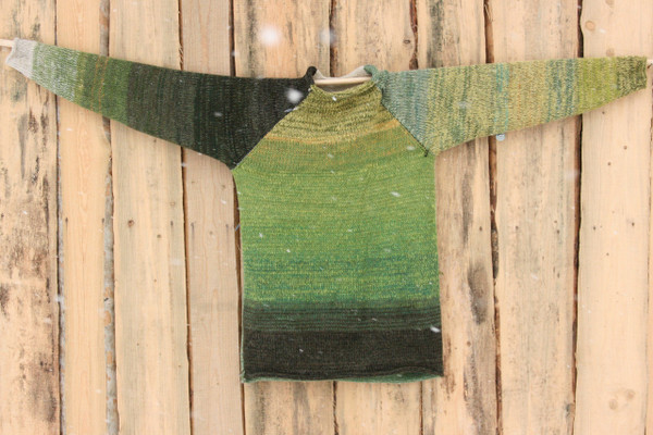 Reflections green raglan pullover sweater size L mens pre-washed Latvian wool, kid mohair, cotton, silk knit by Inese one of a kind unique reversible