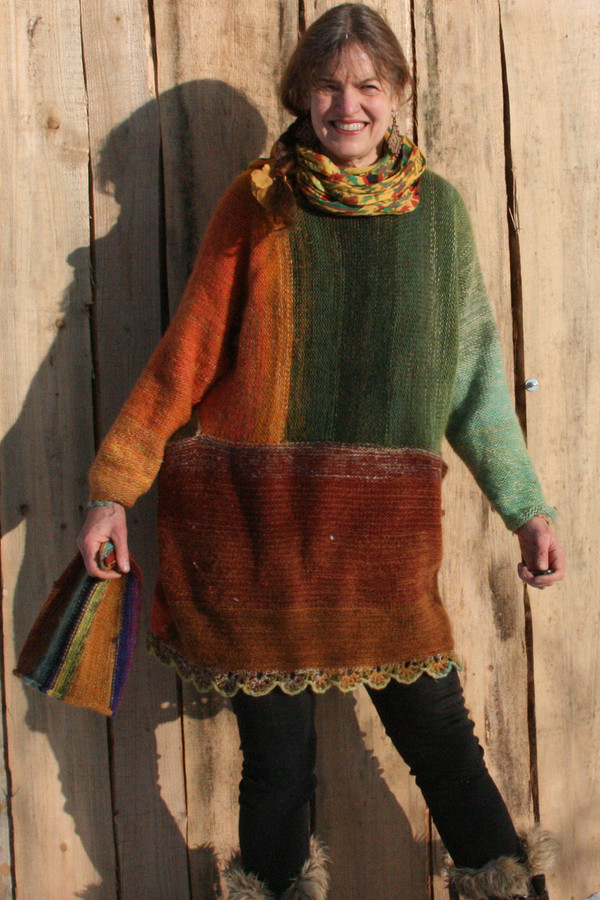 Oversized chunky knit scalloped hem sweater dress OS one of a kind wool kid mohair cotton silk hand crochet edge, Wrapture by Inese