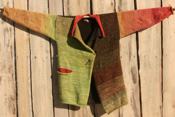 Waterlily Fronds Liene Sweater Coat L hung flat on wood shed Wrapture by Inese