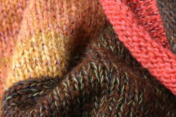 Waterlily Fronds Liene Sweater Coat knitting detail closeup of Ineses unique way of blending colors in her knits.