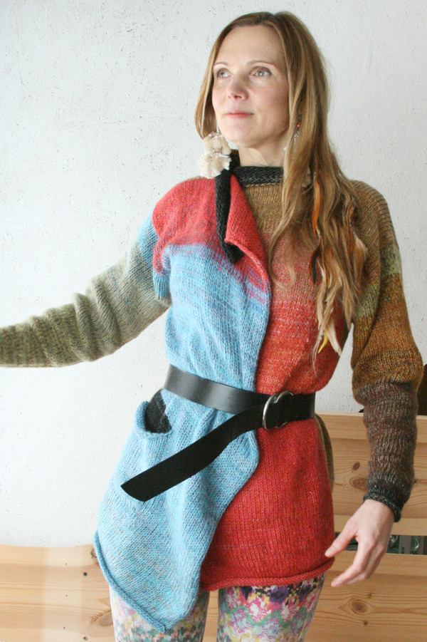 Wild Rose Hips Liene sweater coat S One of a Kind knit by Wrapture by Inese as worn by a size S model