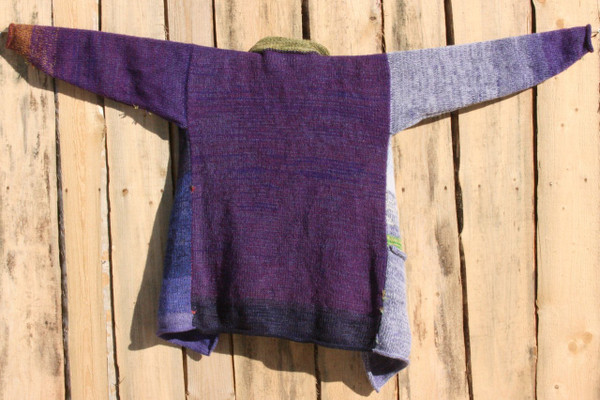 Pansies Liene Sweater Coat purple pre washed wool mohair silk cotton blend, green pocket and collar, Wrapture by Inese
