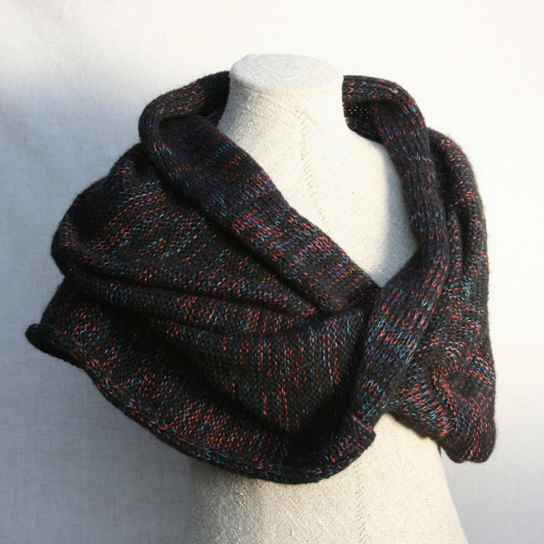 Neon Night marled shawl wrap mohair cotton chunky knit Wrapture by Inese Iris Liepina
