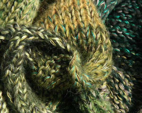 closeup detail of Forest Land shawl wrap knit by Inese for Wrapture by Inese in green olive lime grass