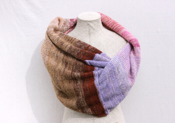 Hydrangea shawl wrap mohair cotton chunky knit Wrapture by Inese Iris Liepina lavender brown pink