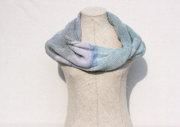 First Frost Morning kid mohair and silk one of a kind infinity scarf on dress form on white background. Knit by Inese in pale pastel blues and greys