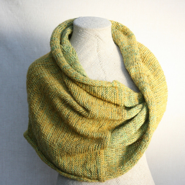 Green Neon marled shawl wrap mohair cotton chunky knit Wrapture by Inese Iris Liepina on dress form