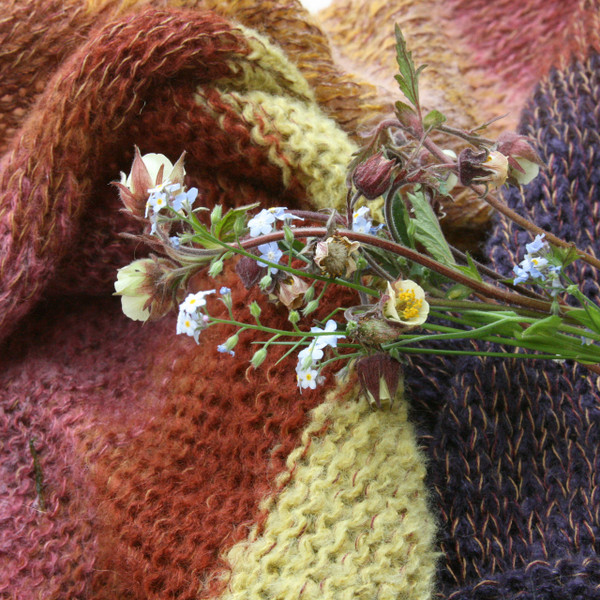 Purple Avens kid mohair and silk one of a kind infinity scarf knitting color detail -  purple lime green, coral, brown, rose with spray of wildflowers