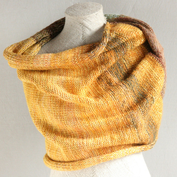 Ancient Woods shawl wrap knit with cotton mohair silk hand blended yarns  Wrapture by Inese