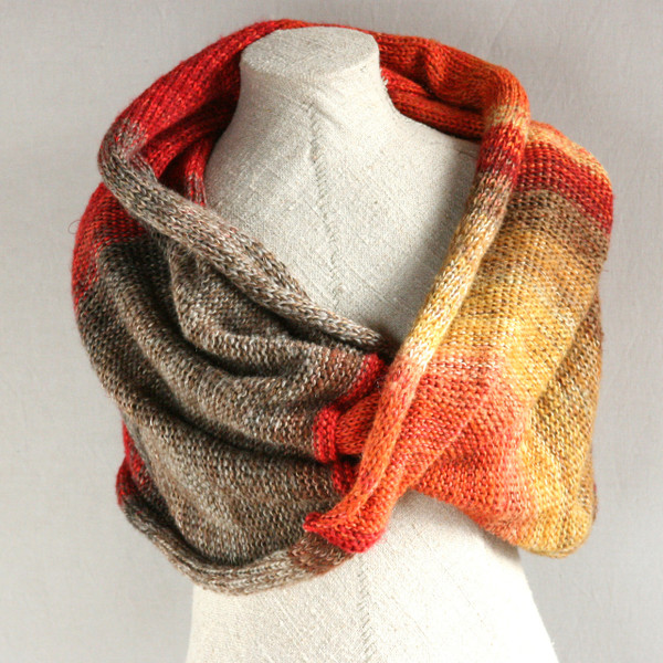 Maple Leaves shawl wrap knit with cotton mohair silk hand blended yarns  Wrapture by Inese