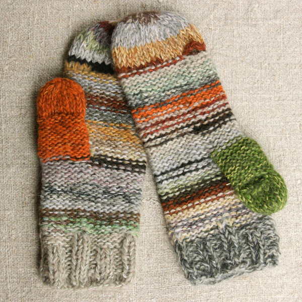 Birch wood color inspired striped smart phone mittens with index finger and thumb holes.