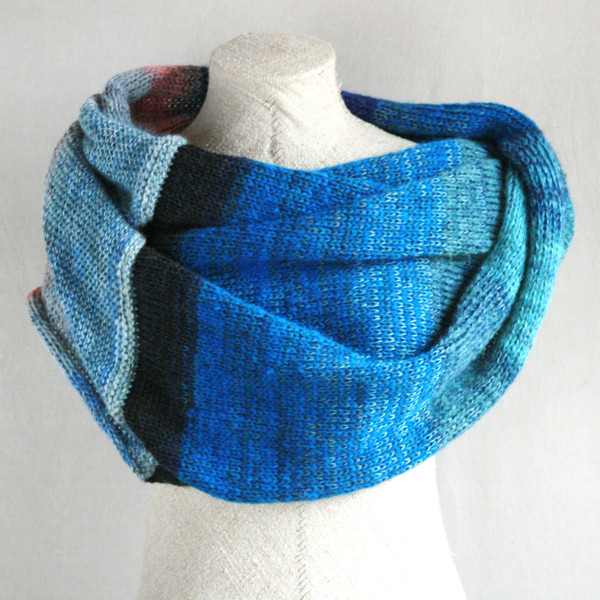 Catalonian Sea shawl wrap mohair, cotton, silk knit  Wrapture by Inese Iris Liepina blue teal pink