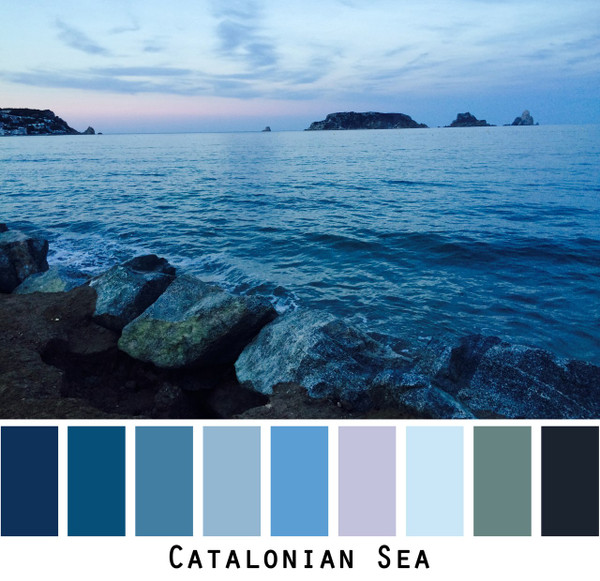 Catalonian Sea colors in a photo by Inese Iris Liepina made into a color card for custom ordering from Wrapture by Inese