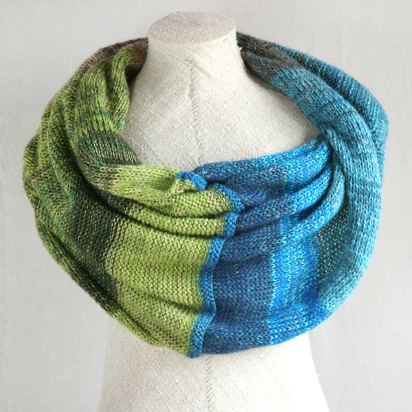 New Zealand shawl wrap mohair, cotton, silk knit  Wrapture by Inese Iris Liepina blue teal green beige