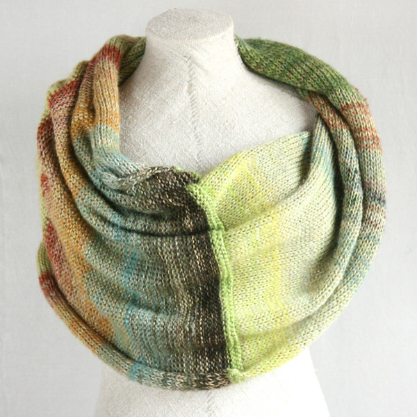 Willow shawl wrap mohair, cotton, silk knit  Wrapture by Inese Iris Liepina sage green celadon gold rust