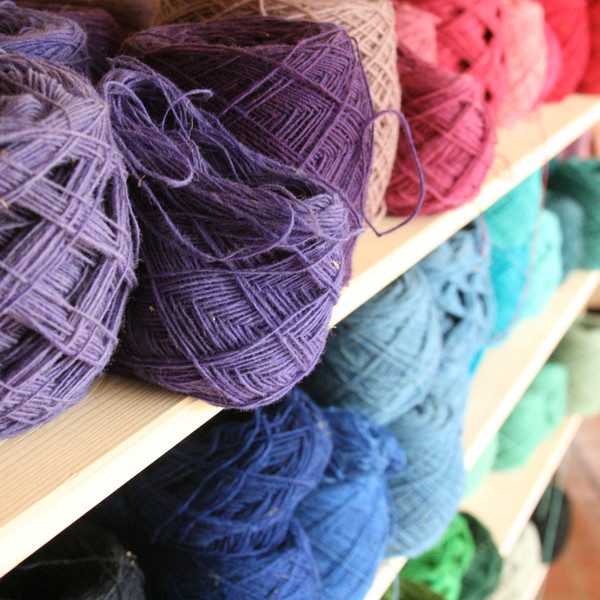 Pāce wool from local sheep, spun and dyed as naturally as possible available at Wrapture by Inese