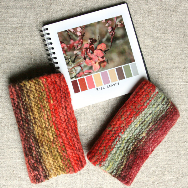 Rose Leaves hand knit and felted wrist warmers with a thumbhole. Wrapture by Inese