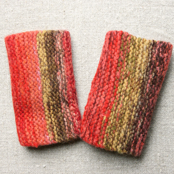 Rose Leaves hand knit and felted fingerless mittens, wrist warmers with a thumbhole. Wrapture by Inese