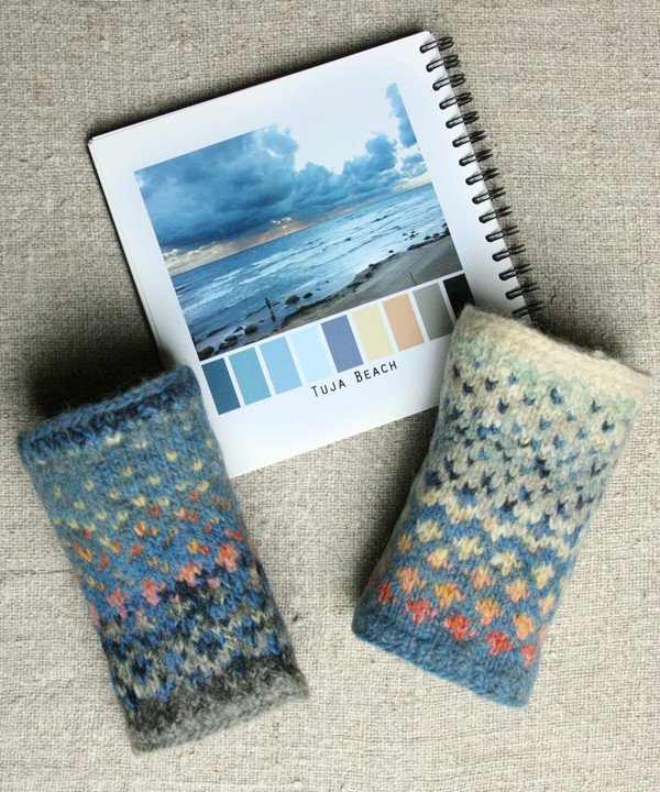 Tuja Beach hand knit and felted wrist warmers Wrapture by Inese