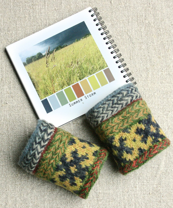Summer Storm hand knit and felted wrist warmers Wrapture by Inese