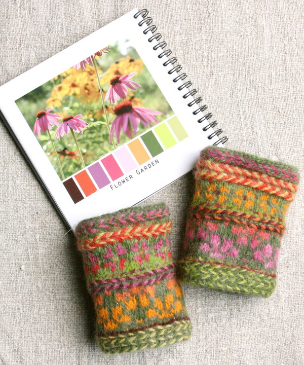 Flower Garden hand knit and felted wrist warmers Wrapture by Inese