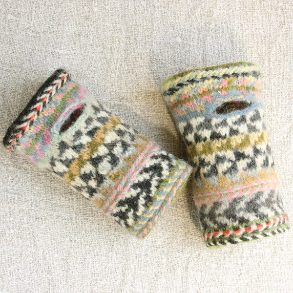 Zebras hand knit and felted wrist warmers with thumb holes Wrapture by Inese