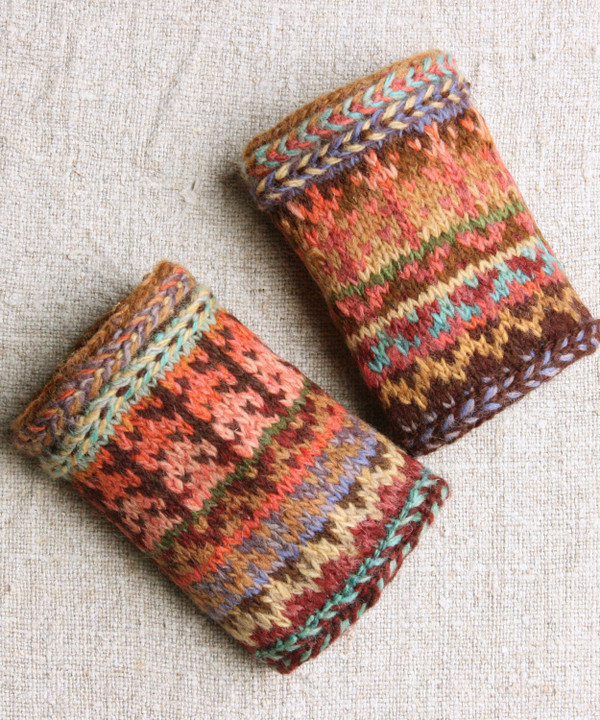 Pine Bark hand knit wrist warmers Wrapture by Inese