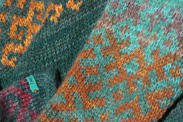 Blue Green Latvian symbols sweater size XL wool, kid mohair, silk, cotton Wrapture by Inese
