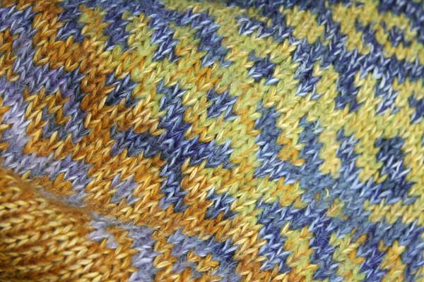 Chartreuse Green Latvian symbols sweater detail of pattern knitting