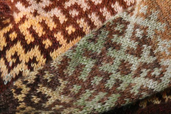 chocolate Latvian symbols sweater detail of pattern knitting