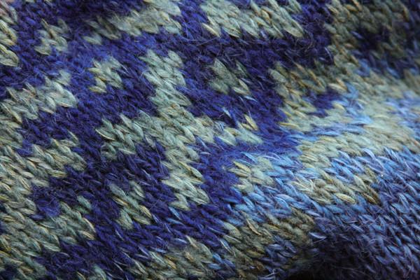 Sapphire Latvian symbols sweater detail of pattern knitting