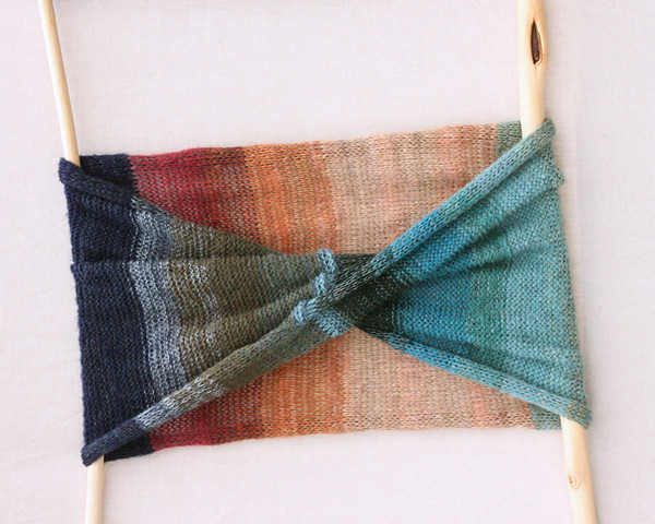 Waterlily Pond loop scarf mohair silk knit by Wrapture by Inese turquoise, navy, beige, mauve