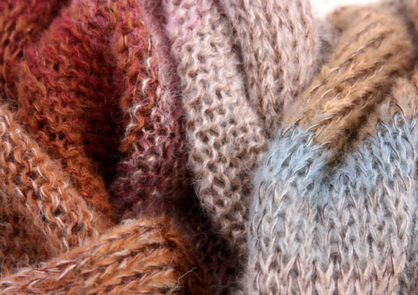 Winter Birch kid mohair and silk one of a kind infinity scarf knitting color detail - taupe beige, mauve, rust