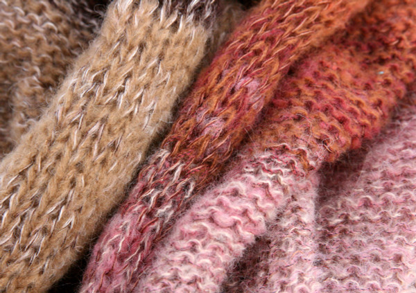 Winter Birch loop scarf mohair silk knit by Wrapture by Inese taupe beige, mauve, rust
