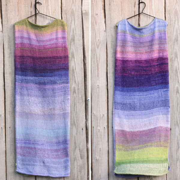 Lupine color card inspired calf length tank dress in double photograph showing both sides of dress on coat hanger on side of wood wall
