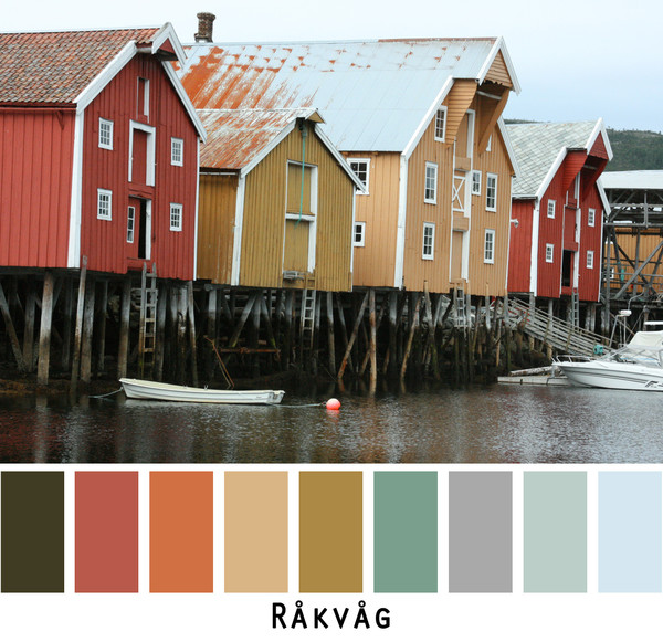 The old fishing warehouses on the fjord in Rakvag, Norway- grey rust ochre teal slate gold colors in a photo by Inese Iris Liepina made into a color card for custom ordering from Wrapture by Inese