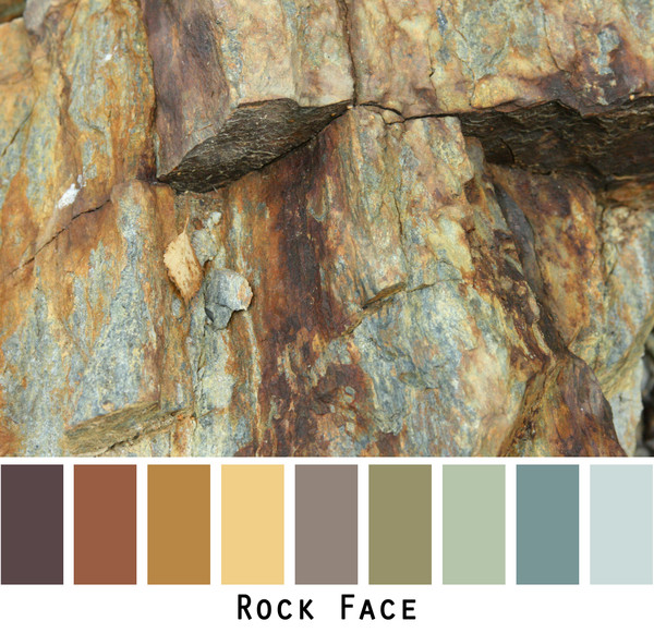 Rock Face - rust ochre gold brown teal grey- photo by Inese Iris Liepina in a color card for custom ordering from Wrapture by Inese