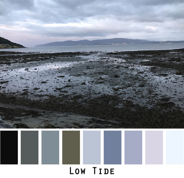 Low Tide - Grey black charcoal slate olive- photo by Inese Iris Liepina in a color card for custom ordering from Wrapture by Inese