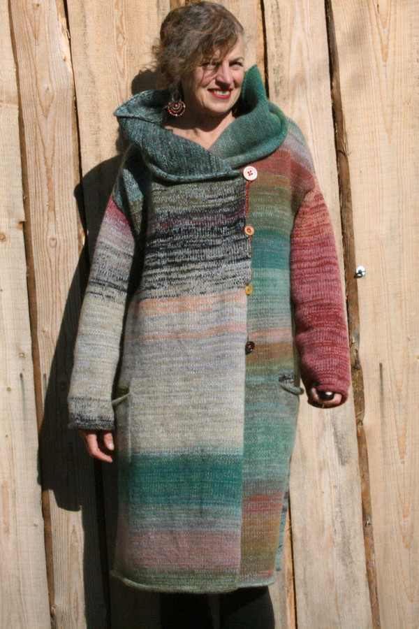 cowl collar option on one of a kind felted wool coat knit by Wrapture by Inese shown as worn by Inese Iris Liepina
