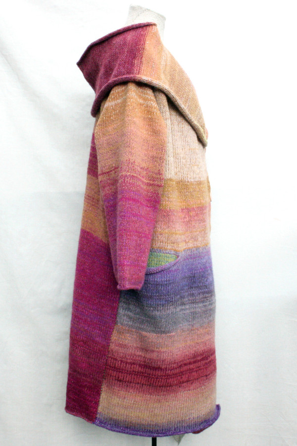 One of a kind felted wool coat knit by Inese with colors inspired by Purple Avens or Bitene flowers. Size M , side view shown on dress form with shawl collar and pocket details.