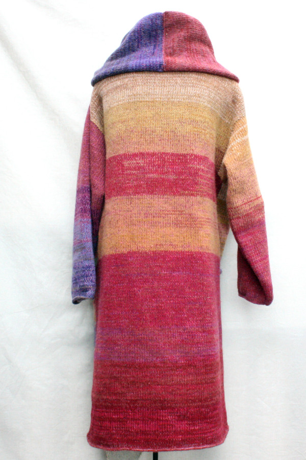 One of a kind felted wool coat knit by Inese with colors inspired by Purple Avens or Bitene flowers. Size M , back view shown on dress form with shawl collar buttoned into a snug collar cowl.