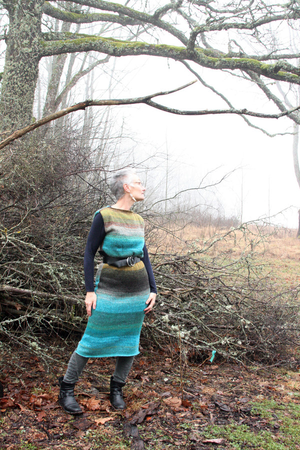 size M Greenstone blue colored random ombre stripe calf length tank dress as worn by model in with majestic old oak branches in background