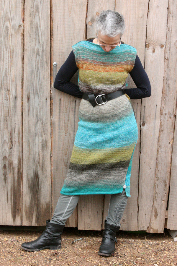 size M Greenstone blue colored random ombre stripe calf length tank dress as worn by model in with woodshed background