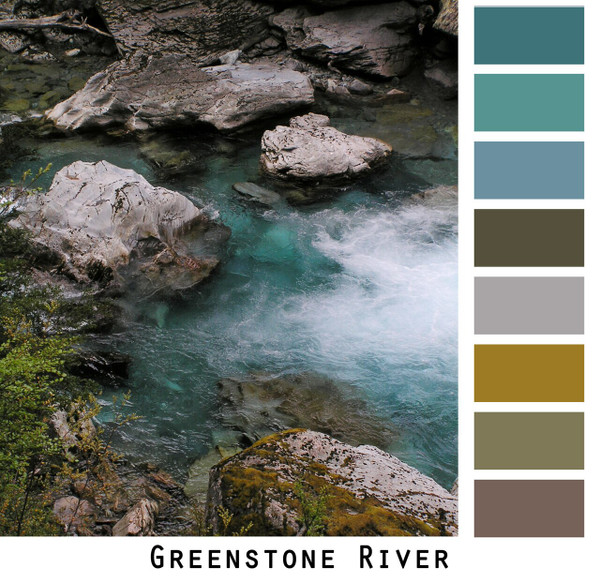 Greenstone River of New Zealand photographed by Inese Iris Liepina and made into a color card for custom ordering from Wrapture by Inese